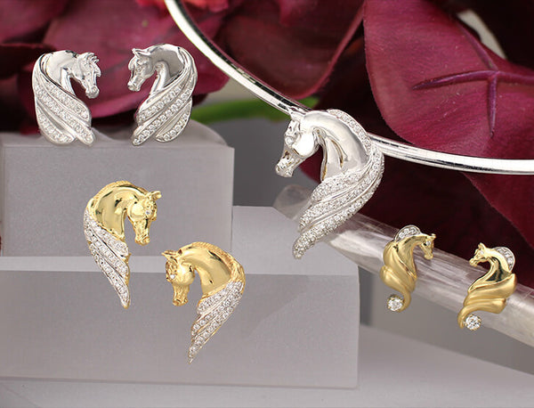 Arabian Horse Earring Collection Image. Copyright design by Lesley Rand Bennett