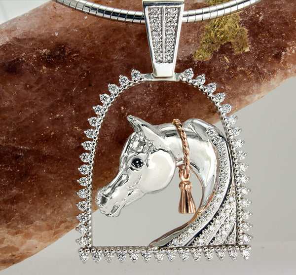 Arabian Horse Pendant collection of copyrighted designs handcrafted by Lesley Rand Bennett