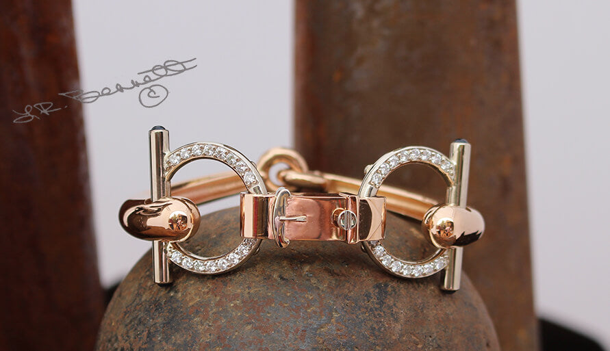 A Bit More Snaffle bit bracelet in 14k rose gold by Lesley Rand Bennett.