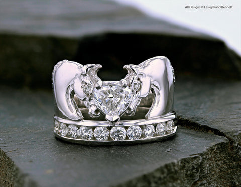 Horse Ring with heart shaped diamond  for horse jewelry collection