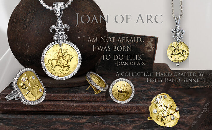 Joan of Arc 14k Jewelry Collection, Joan of Arc horse ring with diamonds, Joan of Arc Shield Ring, Joan of Arc horse Pendant, diamond fleur de lis earrings.By Lesley Rand Bennett