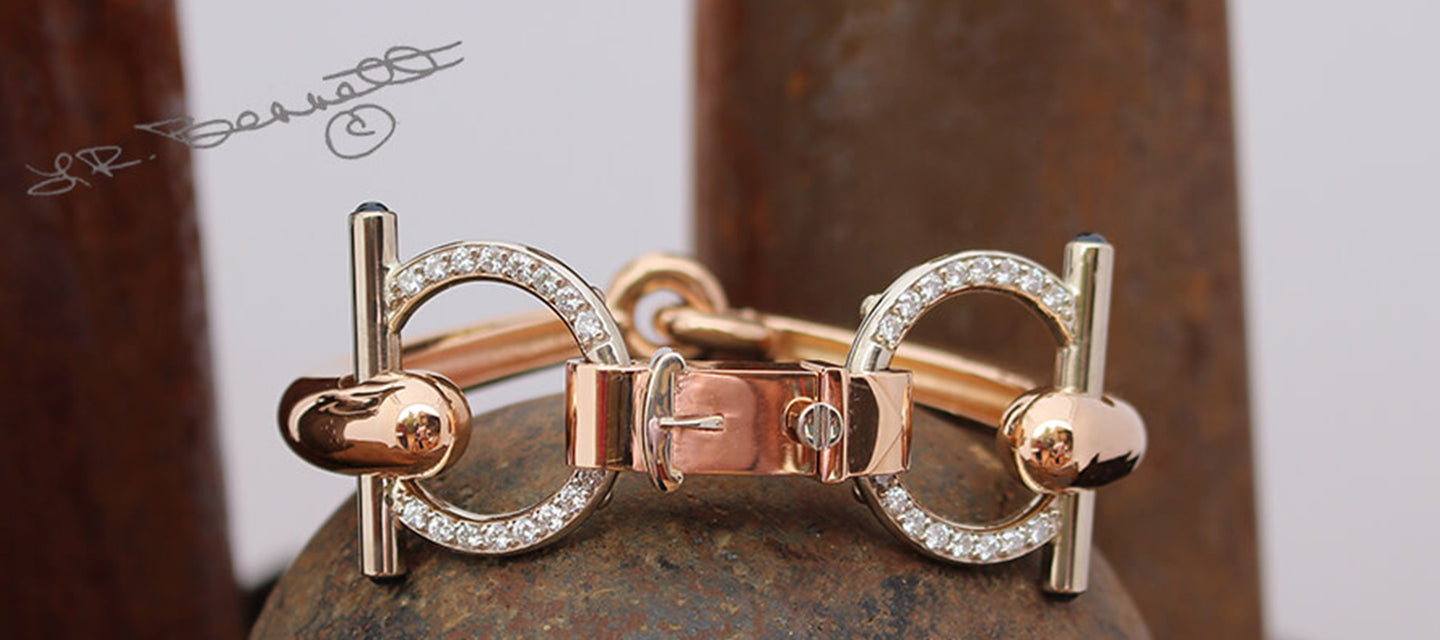 Snaffle Bit Bracelet in rose gold with diamonds by Lesley Rand Bennett