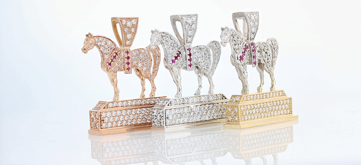 Pave Arabian Horse National Champion replica trophy pendants. Rose gold, white gold, and two- tone by Lesley Rand Bennett