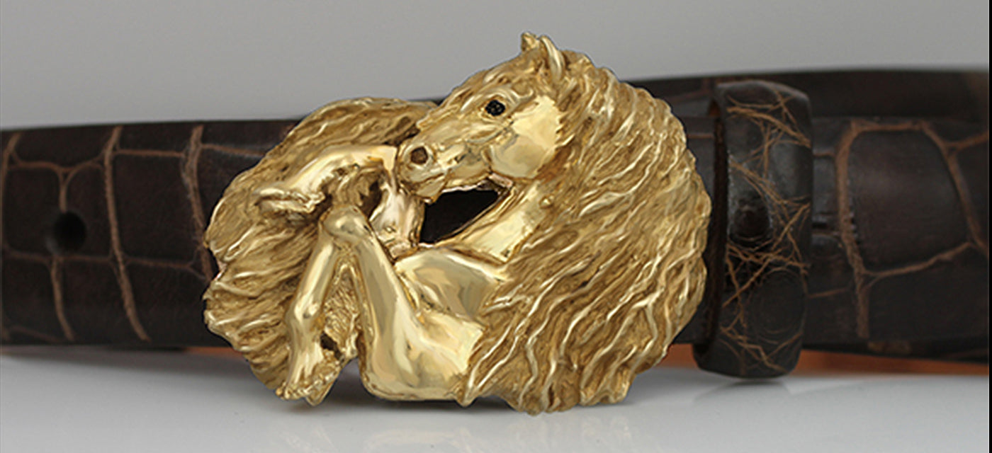 Friesian Horse Belt Buckle in 14k gold by Lesley Rand Bennett