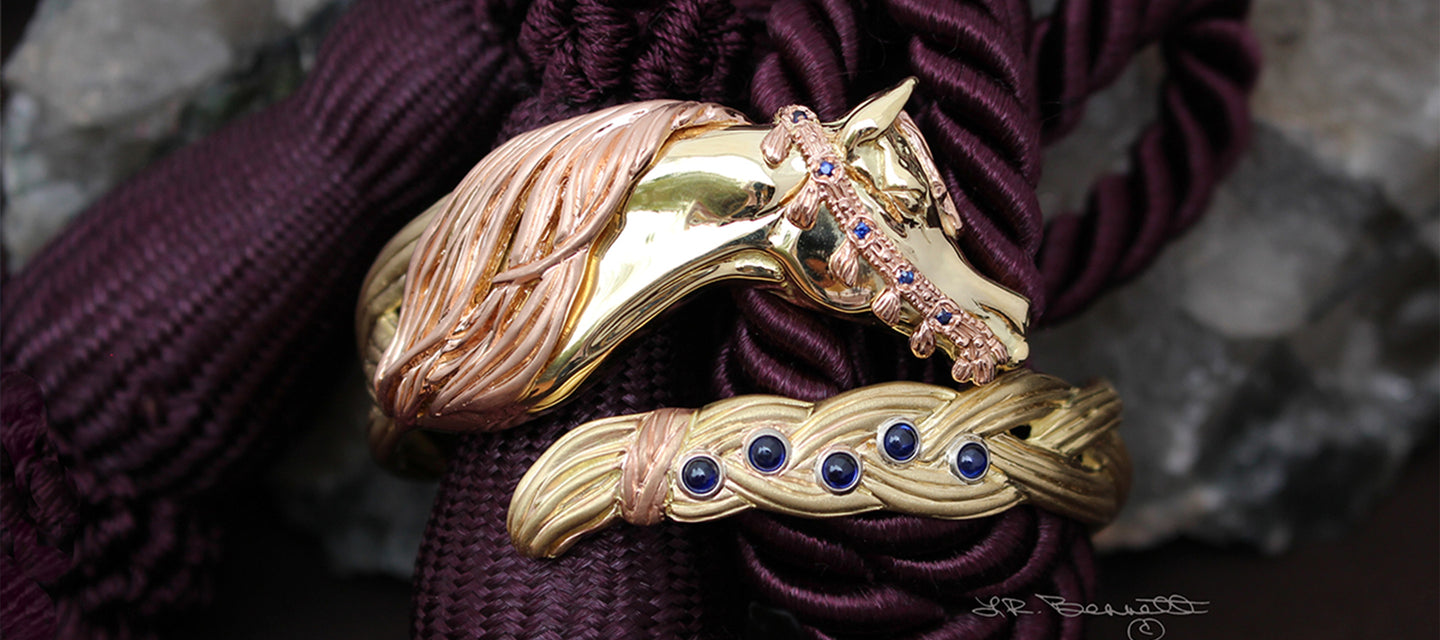 Arabian Horse Braided Mane bracelet in yellow and rose gold  with sapphires by Lesley Rand Bennett