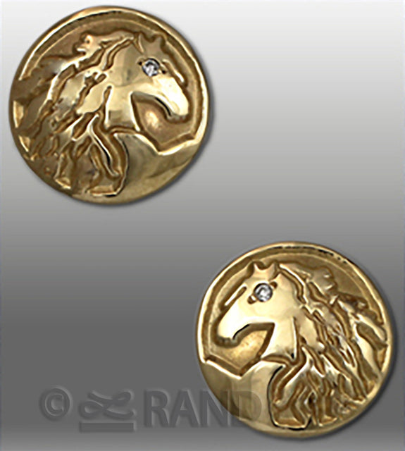 Friesian Horse Head Button Style Earrings - Bennett Fine Jewelry