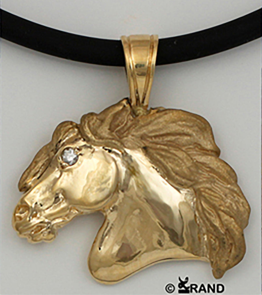 friesian horse head pendant. Copyright and design by Lesley Rand Bennett