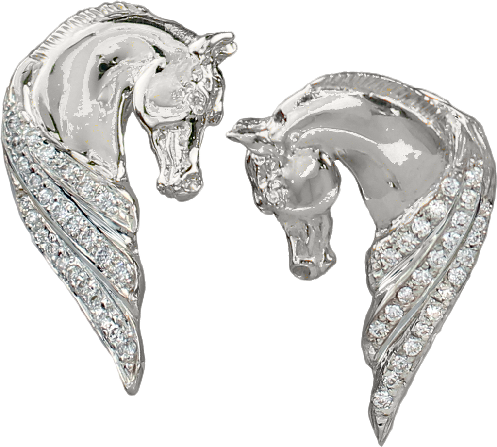 larger image 14k white gold and diamond horse head earrings style 1282 by LesleyRand Bennett