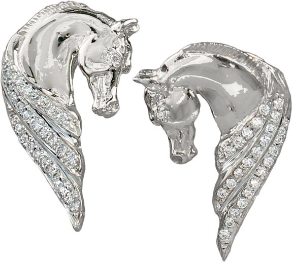 Diamond Horse Head Earrings 1282 in 14k gold by Lesley Rand Bennett - Bennett Fine Jewelry