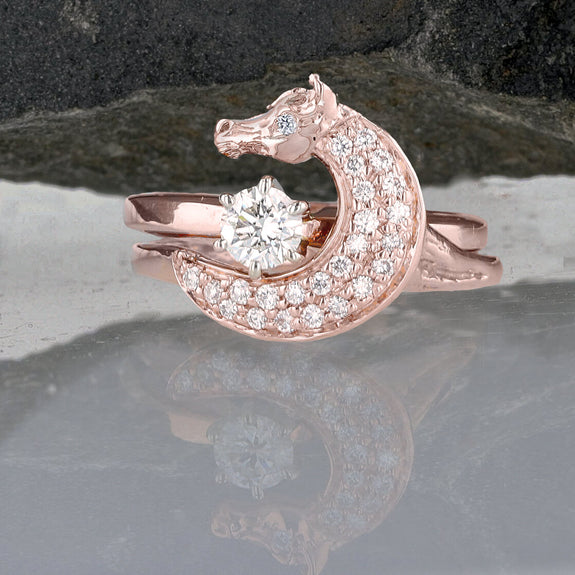 Rose Gold Two Become One Horse Head Wrap Wedding Set