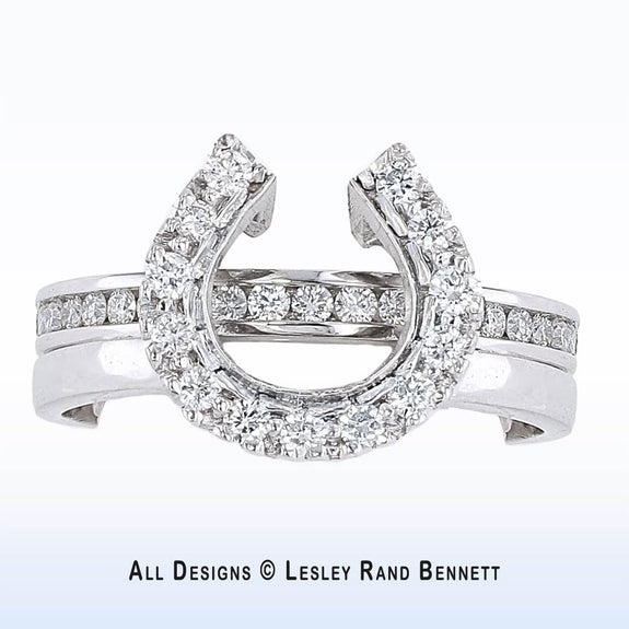 Horse Shoe Wedding Set  With Diamond Band (low profile)