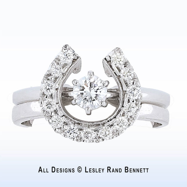 Horseshoe wedding set. 14k white gold with one half carat total weight of diamonds. Handcrafted by Lesley Rand Bennett in Scottsdale, Arizona