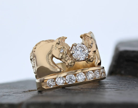 Arabian Crown Horse ring by Lesley Rand Bennett in 14k gold with 1.51ctw