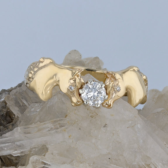 The Original Double Horse Head Ring with 0.28c.t.w