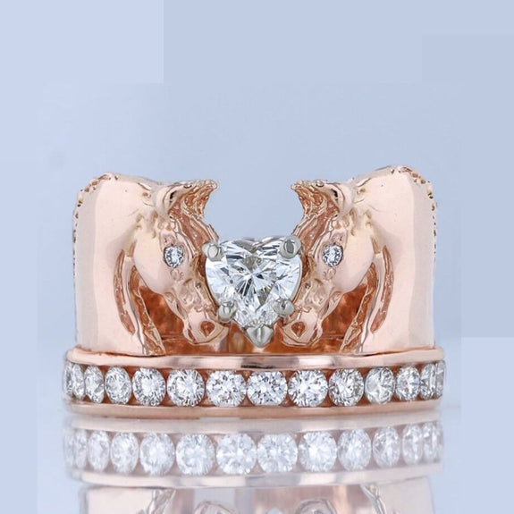 We Love Horses and rose gold horse ring. With 0ne carat total weight in diamond. Copyright design by Lesley Rand Bennett.