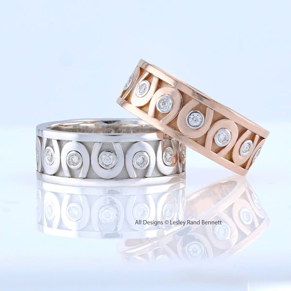 Medium Diamond Horseshoe Band ring by Lesley Rand Bennett. white gold and rose gold