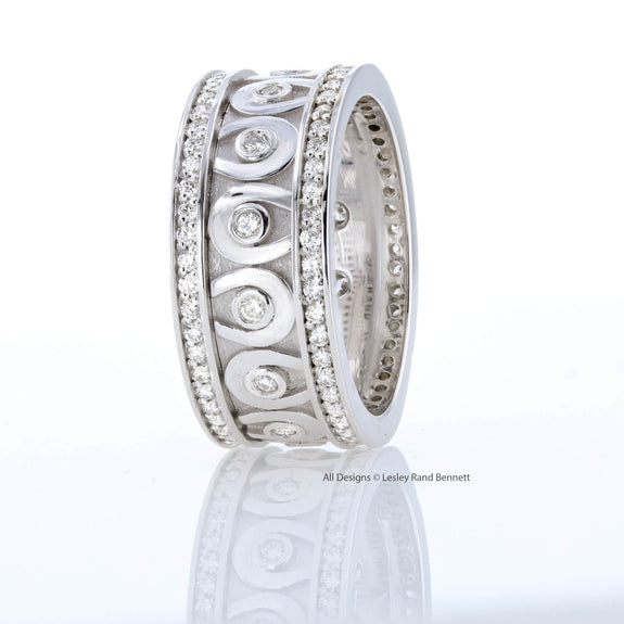 Diamond Horseshoe eternity ring in 14k white gold by Lesley Rand Bennett