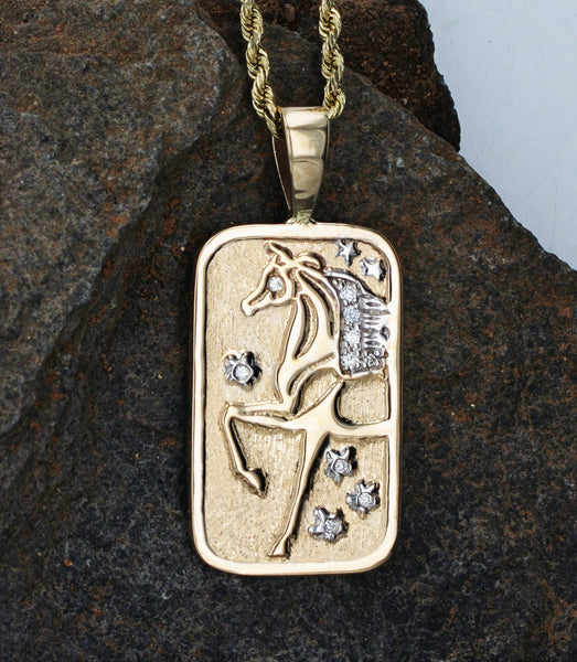 Gold and Diamond Horse Tag