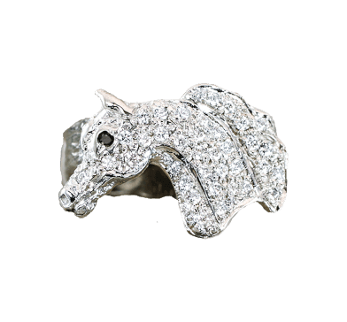 Pave diamond horse head ring in 14k white gold. This copyrighted design is handcrafted by Lesley Rand Bennett.