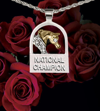 National Champion Horse pendant white and yellow gold by Lesley Rand Bennett