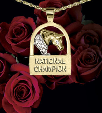 National Champion Horse pendant 14k yellow gold by Lesley Rand Bennett