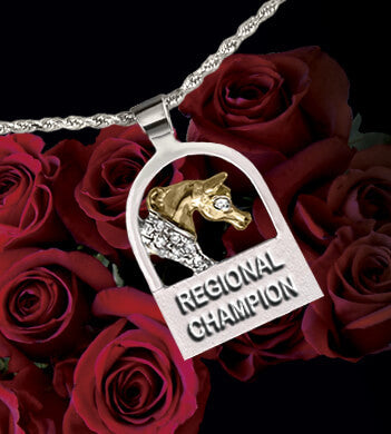 Regional Arabian Horse Champion award pendant 14k two-tone gold