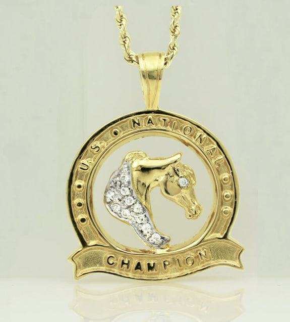 U.S. National Champion Medallion Pendant with Diamond Mane - Bennett Fine Jewelry