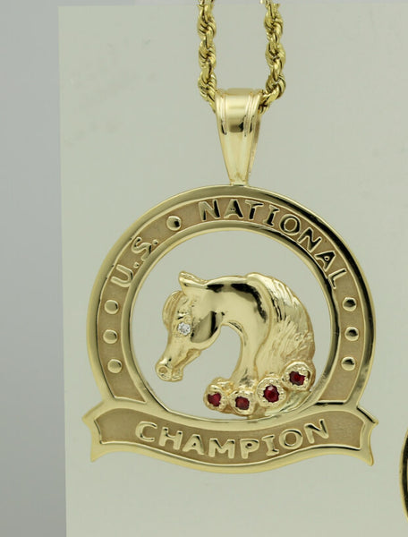 U.S. National Champion Medallion Pendant with Ruby Roses