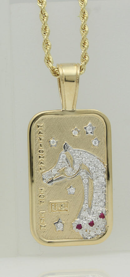Arabian Horse National Top Ten Tag Pendant.Pave in 14k yellow gold. small