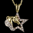 Horse head and diamond star pendant in 14k yellow gold handcrafted by Lesley Rand Bennett
