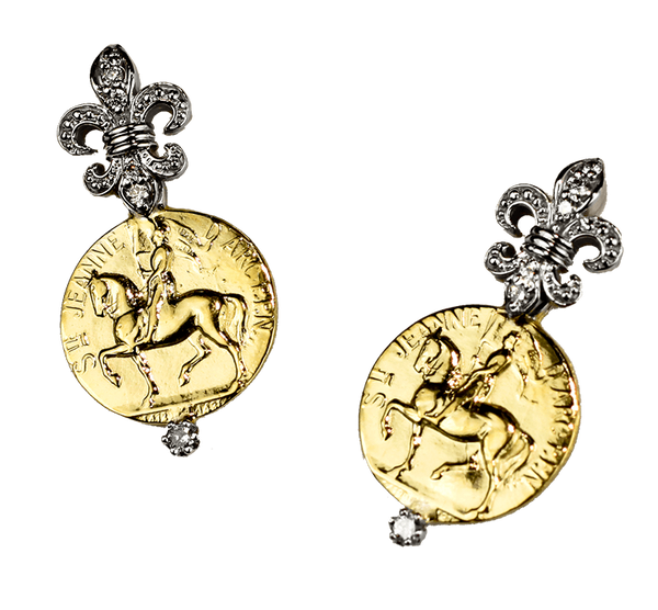 Joan Of Arc Earrings Diamond Fleur-de-Lis - Bennett Fine Jewelry