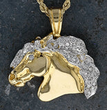 Baroque Horse Head Pendant 18k with Diamond Mane and Eye