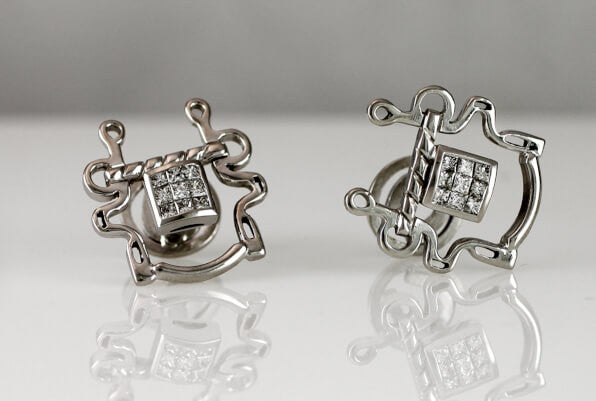 Buxton Bit Cufflinks with Diamonds - Bennett Fine Jewelry