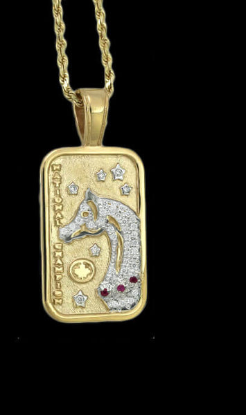 Pave Canadian Arabian and Half Arabian Horse National Champion tag pendant by Lesley Rand Bennett