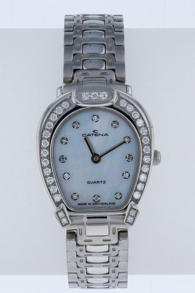 Catena Pave Horseshoe Watch Ladies White Mother of Pearl with 43 diamonds - Bennett Fine Jewelry