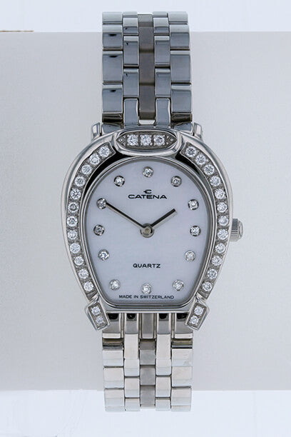 Pave Catena Horseshoe Watch Ladies White Mother of Pearl with 43 diamonds - Bennett Fine Jewelry