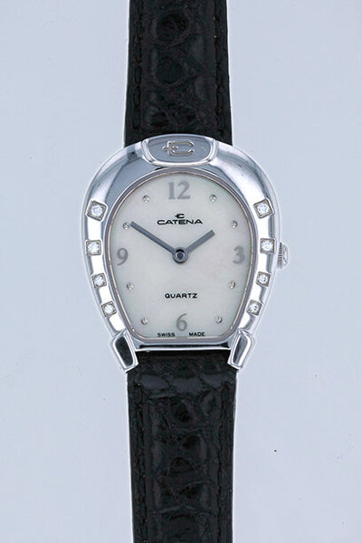 Catena Horseshoe Watch Ladies White with Black Crocodile strap and 8 diamonds - Bennett Fine Jewelry