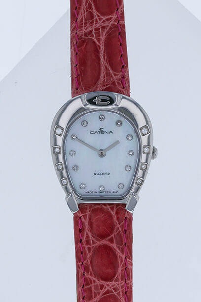 Catena Horseshoe Watch Ladies White Mother of Pearl with 20 diamonds - Bennett Fine Jewelry