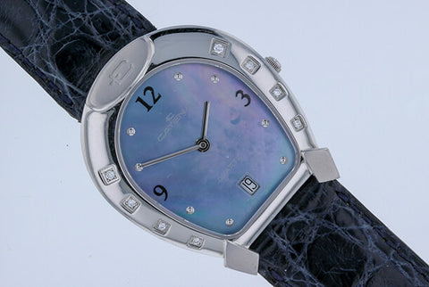 Medium Catena Horseshoe Watch Blue Mother Of Pearl and 8 Diamonds