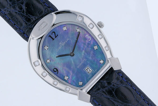 Medium Catena Horseshoe Watch Blue Mother Of Pearl and 16 Diamonds - Bennett Fine Jewelry