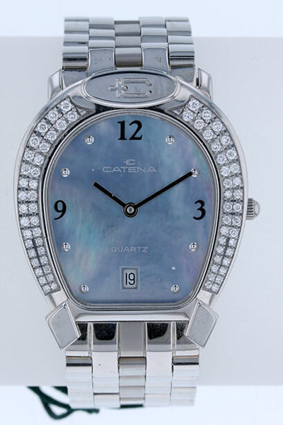 Pave Medium Catena Horseshoe Watch Blue Face - Bennett Fine Jewelry