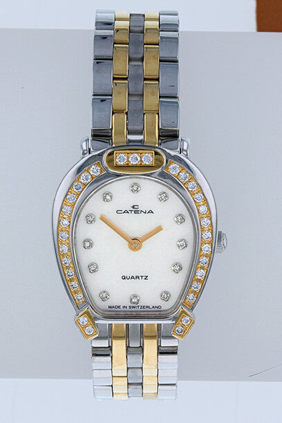 Pave Bicolor Catena Horseshoe Watch Ladies White Mother of Pearl with 43 diamonds