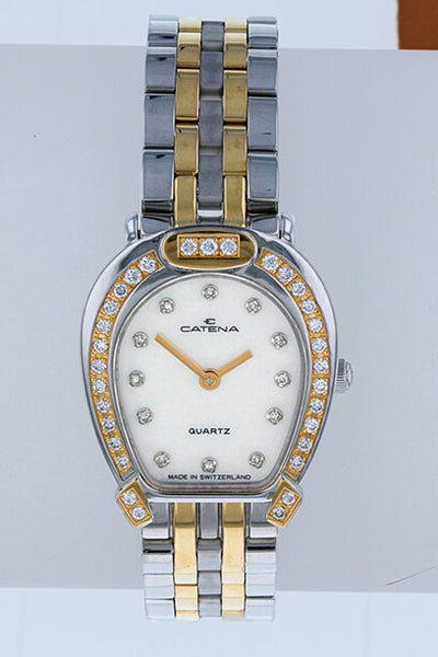 Pave Bicolor Catena Horseshoe Watch Ladies White Mother of Pearl with 43 diamonds - Bennett Fine Jewelry