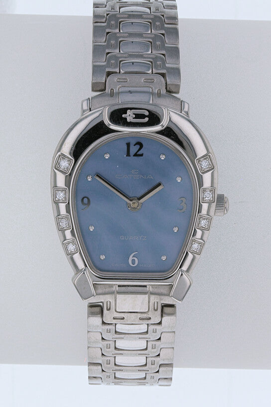 Ladies Catena Horseshoe Watch with blue mother of pearl face  and diamond horseshoe nails