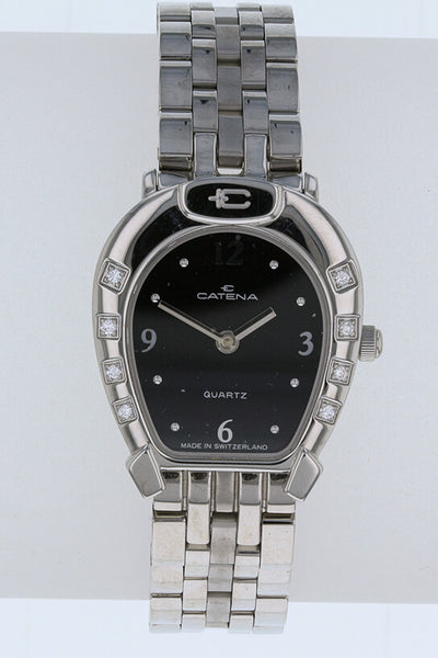 Catena Ladies Horseshoe Watch Black with 8 diamonds