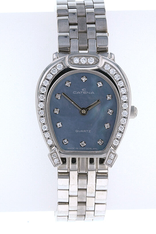 Ladies Catena Pave Horseshoe Watch Blue Mother of Pearl with 43 diamonds