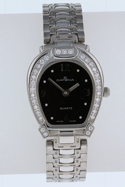 Ladies Catena Pave Horseshoe Watch Black dial with 31 diamonds - Bennett Fine Jewelry