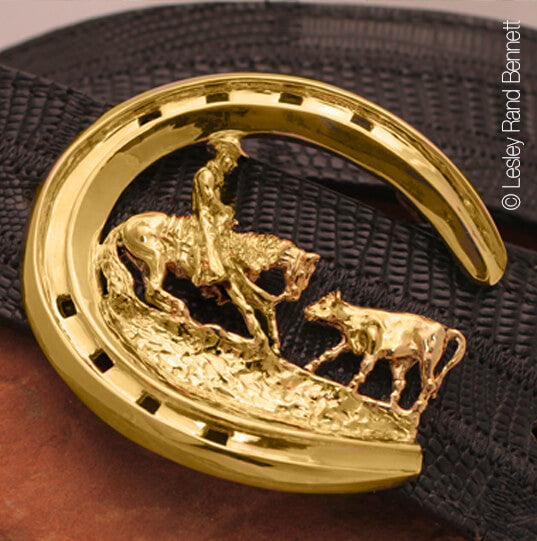 solid 18k gold limited edition belt buckle The Cutter. Copyrighted design by Lesley Rand Bennett