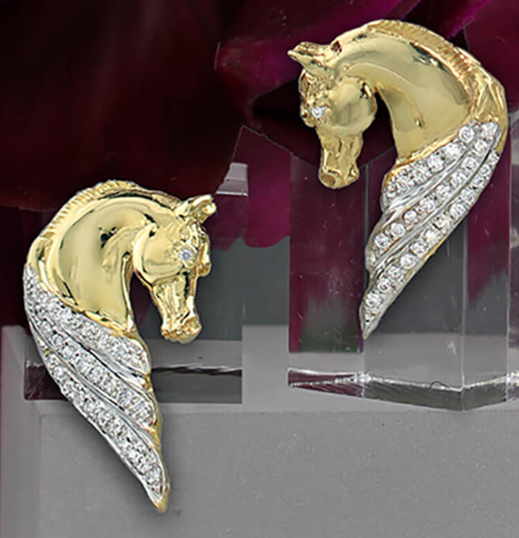 14k Yellow gold and diamond horse head earrings style 1282 by Lesley Rand Bennett