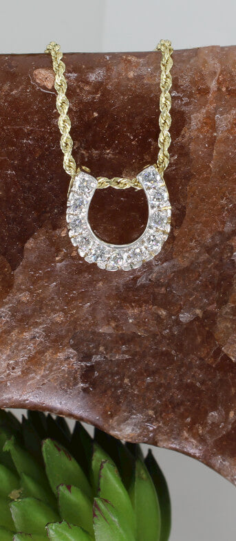 Diamond Horseshoe pendant with 0.50c.t.w. handcrafted by Lesley Rand Bennett